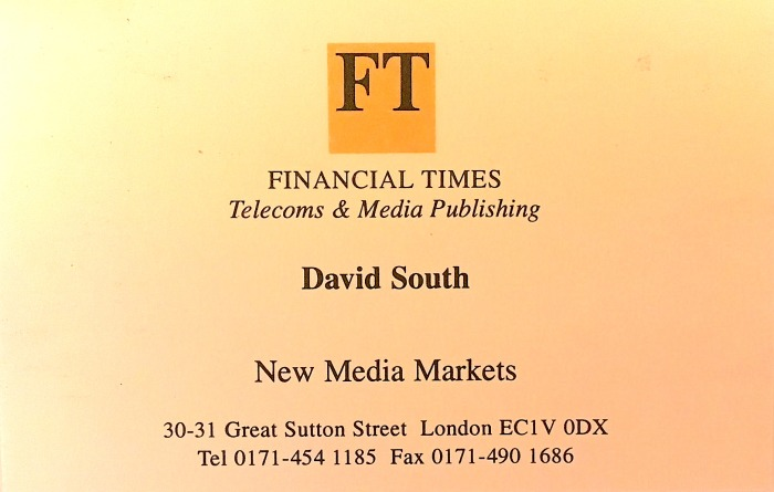 Financial Times business card 1995