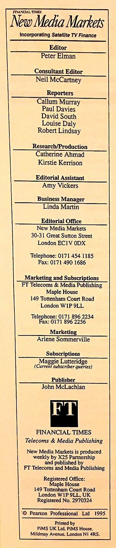 New Media Markets masthead 1995