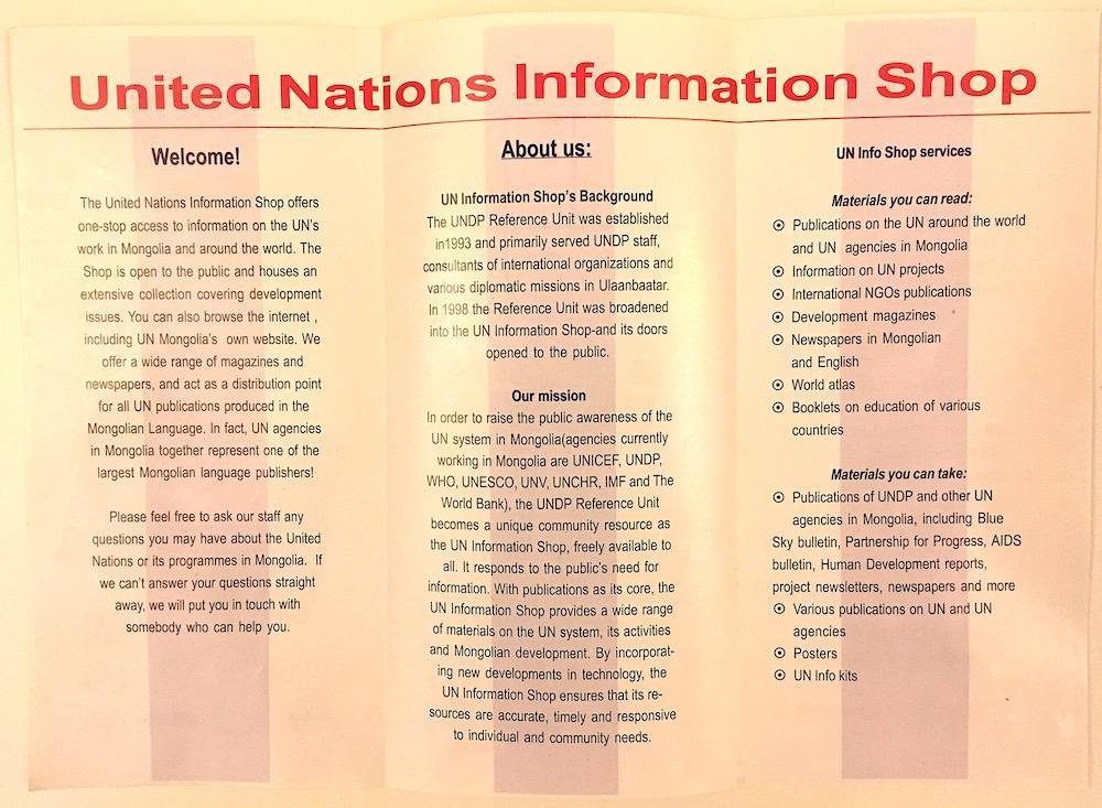 UN Info Shop inside