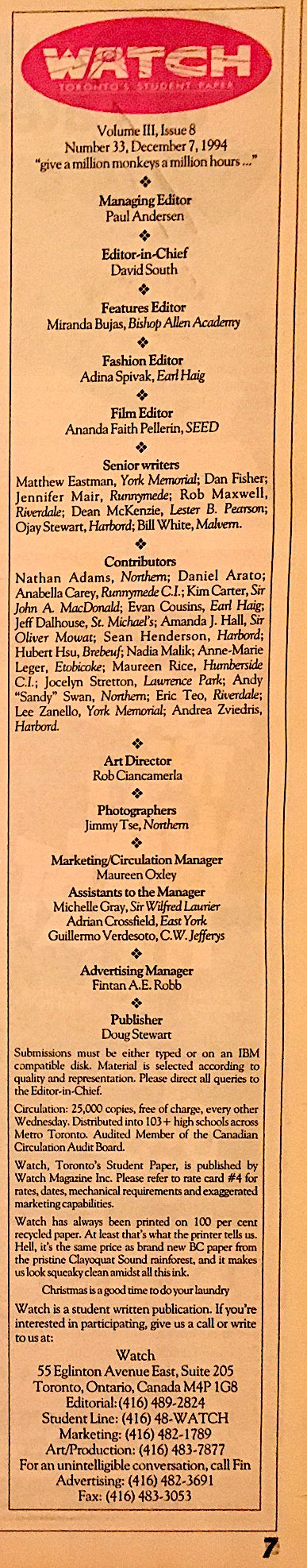 Watch Magazine masthead 1994